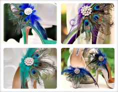 Shoe Clips Peacock Fan. Bride Bridal Bridesmaid, Birthday Engagement Gift, Sparkly Rhinestone Statement, Winter Hot Couture, Awards Glam. $63.50, via Etsy.