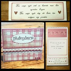 """Christening / baptism card to a little baby girl. CS Bazzill White and Reprint /Paper Accents Vintage pink. DP Panduro Vibeke Spigseths Rough & sweet """"squares pink """". Distressed with Tim Holtz Victorian velvet. Lace Edge punch Martha Stewart. Alphabet dies cuttlbebug Olivia. Rubber Stamp from Inkido with versafine onyx black and embossed with clear powder. Small hearts from Stampin Up owl punch. Text inside handwritten by me Kirsi Arvidsson. Visit my blog www.kirsi.nu."""