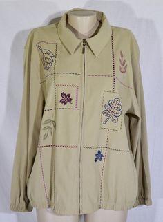 ALFRED DUNNER Dark Khaki Zippered Jacket 18 Embroidered Leaves Long Sleeves #AlfredDunner #BasicJacket