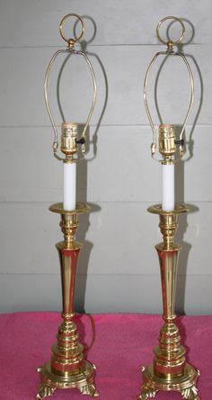 Vintage Pair of Solid Brass Buffet Table Lamps by QUEENIESECLECTIC, $125.00