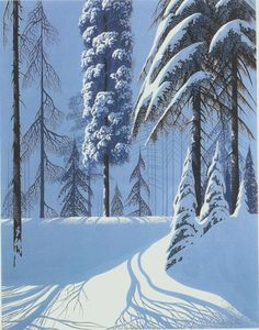 talesfromweirdland: Winter scenes by Eyvind Earle (whose Disney concept art I've featured before). Fantasy Landscape, Winter Landscape, Landscape Art, Winter Szenen, Winter Trees, Eyvind Earle, Illustration Noel, Landscape Illustration, Snow Scenes