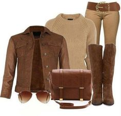 Camel Brown outfit, the classic camel leather jacket with knee-length brown boots