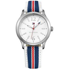 Tommy Hilfiger Women's Navy and Red Grosgrain Strap Watch 38mm 1781558 ($33) ❤ liked on Polyvore featuring jewelry, watches, tommy hilfiger, navy jewelry, tommy hilfiger jewelry, navy blue jewelry and tommy hilfiger watches
