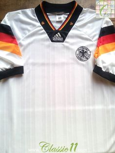 Relive Germany's international season with this vintage Adidas home football shirt. Football Uniforms, Football Jerseys, Germany Football, Classic Football Shirts, Team Shirts, Vintage Adidas, Vintage Shirts, Polo Ralph Lauren, Soccer