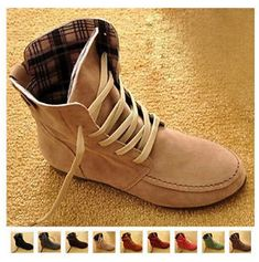 Women s Ankle Boots Nubuck Leather Moccasins Lace-Up High top Shoes Size4.5- 64480c2bc
