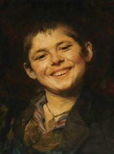A smiling boy - Georgios Jakobides, Greek painter