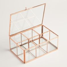 With a sophisticated copper frame and clear glass panes, our exclusive tea storage container organizes bagged or loose-leaf teas in six spacious compartments. Available at a remarkable price, it& a fantastic gift for any tea lover. Rose Gold Room Decor, Rose Gold Rooms, Rose Gold Room Accessories, Tea Storage, Kitchen Storage, Storage Boxes, Storage Ideas, Room Ideas Bedroom, Bedroom Decor