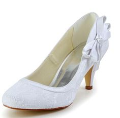 Elegant Women s Wedding Shoes With Lace and Side Bowknot Design Color  WHITE 30d35524c383