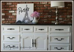 Mary Beth's Place: A Classic Black & White Dresser Top Furniture Stores, Luxury Furniture Brands, Furniture Outlet, Sofa Furniture, Discount Furniture, Furniture Plans, Kitchen Furniture, Furniture Makeover, Painted Furniture