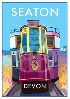 Seaton vintage style travel poster and seaside print forms part of the British Coastlines travel art collection. Created by Devon Artist Becky Bettesworth. Posters Uk, Train Posters, Railway Posters, Poster Prints, Vintage Advertising Posters, Vintage Travel Posters, Vintage Advertisements, Poster Vintage, Tramway