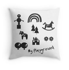 """Children's interiors  decorative pillow  kids by ByBrokenTricycle   All our artworks are original, hand drawn and unique. Colour is added using """"illustrator"""" making it easy to change colours on request.  Pillow fabric is Polyester poplin (easy clean) durable fabric. The pillow is available in the following sizes: 41cm x 41cm (pillow case only) 46cm x 46cm (pillow case only) 51cm x 51cm (pillow case only) #kidsinteriors #kidsbedding #kidspillow #kidsdecor"""