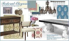 I created this digital design board for my History of Interiors II class. Interior Design Boards, Pallet Designs, Color Pallets, Presentation Design, School Design, Dining, Room, Interiors, Furniture