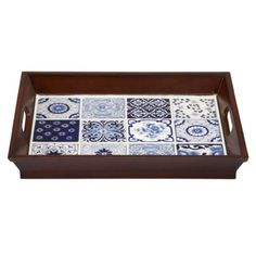 Find it at bombaycompany.com  - Blue and White Porcelain Tile Tray