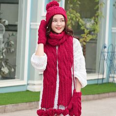 Winter hairball cable knit hat scarf and gloves set for women