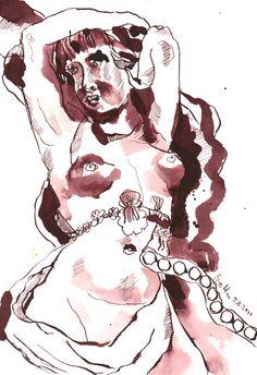 Fassade in der Arndtstr. - Zeichnung von Susanne Haun - 17 x 22 cm - Tusche auf Bütten