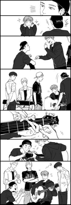 Chanyeol teaching Chen playing guitar? chanyeol and lay playing music together? #fanart