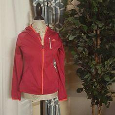 Pink Adidas zip up running jacket Pink Adidas zip up running jacket.  In good condition!:) 100%polyester. Adidas Sweaters