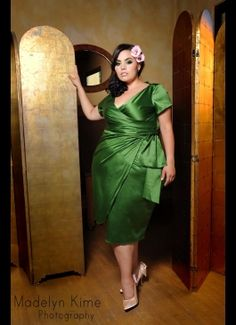 Pinup Girl Clothing stands up to bullies. (Rosie Mercado in Pinup Couture Ava Dress in Green Shakira Satin) Side Slit Dress, Pin Up Outfits, Fashion Outfits, Vintage Inspired Outfits, Jade Green, Shakira, Green Satin, Pinup Couture, Couture Fashion
