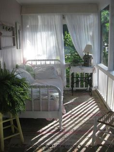 I so love porches, much more practical than a deck. Reminds me of the South and all the wonderful memories ♥So Southern Shabby Chic Cozy Cottage, Cottage Style, Cottage Porch, White Cottage, Shabby Cottage, Interior Exterior, Interior Design, Interior Ideas, Design Design