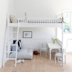 good for kid's room: study table & rest area below the upper deck