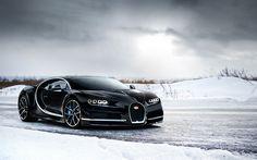 Download wallpapers Bugatti Chiron, 2017, Winter, hypercar, black Chiron, supercar, racing car, VAG, Bugatti