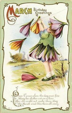 Month March Crocus Fantasy Girl Clothesline Uncirc Emboss Vtg Antique Postcard | eBay