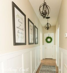 Long, dark hallway makeover before and after + 3 free prints Worthing Co . - Long, dark hallway makeover before and after + 3 free prints Worthing Cou … - Hallway Wall Decor, Hallway Walls, Hallway Ideas, Hallway Decorations, Wainscoting Hallway, Dark Hallway, Upstairs Hallway, Modern Hallway, Modern Staircase