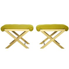 Italian brass X-base stools  Italy  1960's  Brass frame X-base stool pair. Made in Italy. Newly upholstered.
