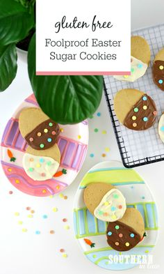 Foolproof Easter Sugar Cookies Recipe Gluten Free Recipe - Easy Cream Cheese Cut Out Cookies, Gluten Free Sugar Cookies, Chocolate Dipped Cookies, Easter Dessert Idea Gluten Free Sugar Cookies, No Egg Cookies, Gluten Free Cookie Recipes, Easter Cookies, Sugar Cookies Recipe, Healthy Cookies, Melting Chocolate, Chocolate Dipped, How To Make Cookies