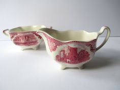 Vintage Johnson Bros Old Britain Castles Red Cream by thechinagirl