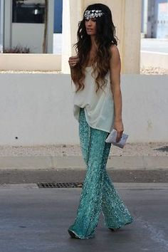 glitter mermaid pants so cute! turquoise!