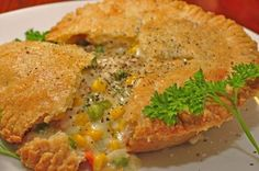 A tasty chicken pot pie made with mixed vegetables for a food classic.