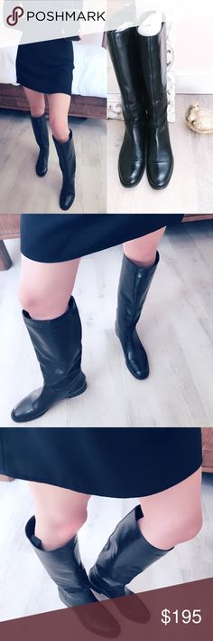 MaxMara riding boots MaxMara made in Italy sleek chic black leather riding boots! 1'inch heel😻Stunning! These boots are in beautiful condition mild bottom sole wear. My pre owned boots❤️total length of boots are 17'Tall. Pull on style riding boot. No zippers. Offers welcome no trades thank you MaxMara Shoes Heeled Boots