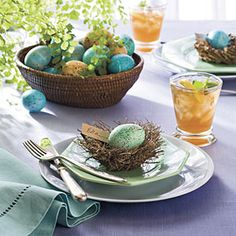 Easy Easter Decorations < Spring Table Settings and Centerpieces - Southern Living Easter Table Settings, Easter Table Decorations, Decoration Table, Easter Centerpiece, Easter Decor, Centerpiece Ideas, Table Centerpieces, Speckled Eggs, Easter Egg Dye