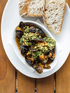 Spicy Catalan mussels, almond picada