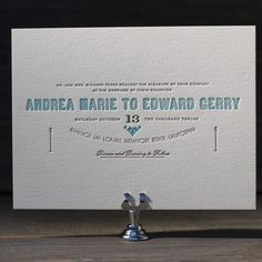 Carte de Visite letterpress wedding invitation by Benjamin Whitla for Bella Figura. Customize yours with Paper Passionista.