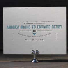Carte de Visite letterpress wedding invitation by Benjamin Whitla for Bella Figura. Customize yours with Paper Passionista.