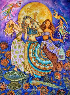 Moon Dance  A Midsummer Celebration by HollySierraArt on Etsy