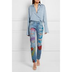 Faith Connexion Painted distressed low-rise skinny jeans ($900) ❤ liked on Polyvore featuring jeans, ripped skinny jeans, ripped jeans, destructed jeans, destroyed denim skinny jeans and 80s jeans