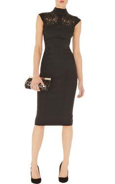 Graphic lace insert dress | Luxury Women's evening_glamour | Karen Millen