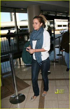 My favorite airport style...jeans, flats, button down, scarf!  Perfect formula!