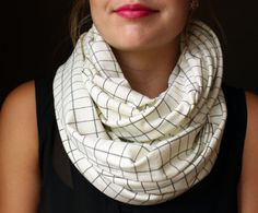 Cream Circle Scarf with a navy blue checker pattern, Infinity scarf, Loop scarf, Tube scarf on Etsy, $20.00