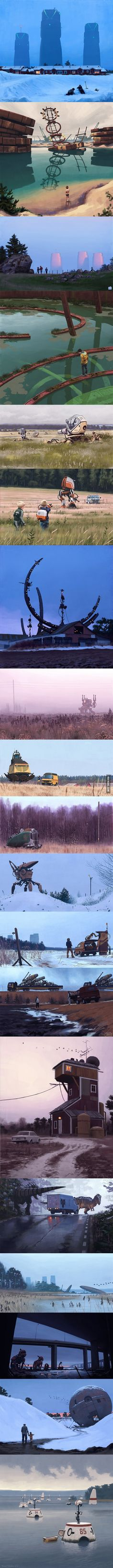 Incredible paintings of sci-fi Swedish suburbia by Simon Stålenhag