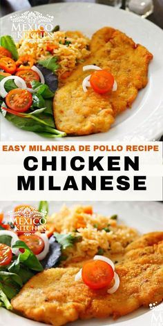 Chicken Milanese Mexicana, a meal crispy and golden treat for your dinner. A popular midday meal or dinner all over Mexico. This traditional Mexican meal is ready in 30 minutes or less, serve with a side of Mexican red rice, a salad with a few slices of avocado, some warm corn tortillas, and spicy homemade salsa. Milanesa, Milanese Recipe, Pollo Recipe, Chicken Milanese, Mexican Chicken Recipes, Turkey Recipes, Homemade Salsa, Corn Tortillas, Kitchen Recipes