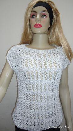 Blusa branca com lurex prata em tricô.