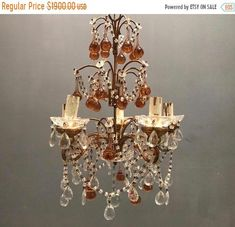 Excited to share this item from my #etsy shop: Petit Vintage Tuscan Chandelier with Murano Glass, Crystal Chandelier, Murano Country Villa Pendant Light, Free Shipping USA #antiquechandelier #petitchandelier #chandelierdesigner #theenglishsisters #crystalchandelier #vintagemurano #muranolight #chandelierlighting #pendantlight