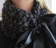 Charcoal Crocheted Cowl by wynbrit on Etsy, $20.00...Yes, I know this isn't knitted...but it's a great idea!