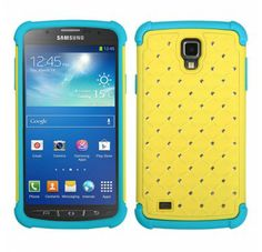 SAMSUNG i537 (Galaxy S4 Active) Yellow Tropical Teal Luxurious Lattice Dazzling TotalDefense Protector Cover