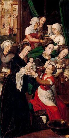 The Nativity of the Virgin Ambrosius Benson - Date unknown Museo del Prado - Madrid (Spain) Italian Renaissance Dress, Renaissance Fashion, Renaissance Clothing, St Jean Baptiste, Saint Catherine Of Alexandria, 16th Century Clothing, Italian Painters, Women In History, Magazine Art