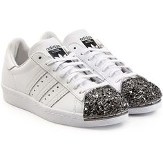 Adidas Originals Leather Superstar 80s Leather Sneakers ($140) ❤ liked on Polyvore featuring shoes, sneakers, white, lace up shoes, shiny shoes, cap toe shoes, leather trainers and leather sneakers